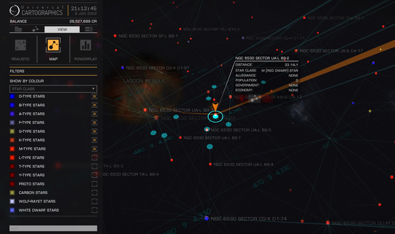 Navigationscheck auf der Galaxy Map