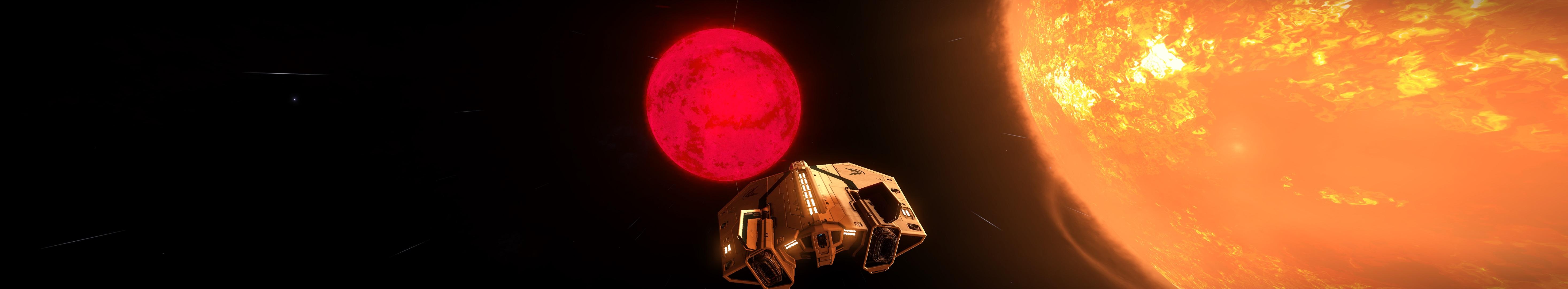 ein Binärsonnensystem mit einem roten Zwerg und einer K-Class Sonne